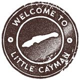 Little Cayman map vintage stamp. Retro style handmade label, badge or element for travel souvenirs. Brown rubber stamp with island map silhouette. Vector Stock Images
