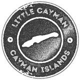 Little Cayman map vintage stamp. Retro style handmade label, badge or element for travel souvenirs. Dark grey rubber stamp with island map silhouette. Vector Royalty Free Stock Image