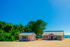 Little Cayman-Pink Houses stock image