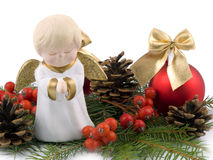 Little ceramic angel - Christmas decoration Stock Images