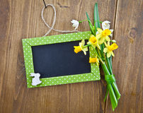 Little chalkboard and spring flowers Royalty Free Stock Image
