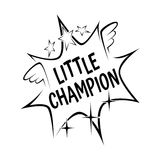 Little champion slogan in comic explosion waves on white background Royalty Free Stock Photography