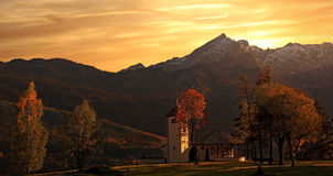 Little chapel in the alps near garmisch, bavarian landscape Royalty Free Stock Image