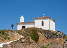 Little chapel and man Stock Photography