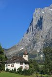 Little chapel of Wetterhorn mountain, Switzerland Stock Photo