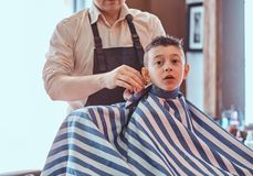 Little charming boy is getting trendy haircut from mature hairdresser at fashionable hairdressing salon.  royalty free stock photography