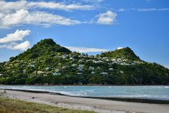 A little charming town Tairua, New Zealand. It lies at the mouth of the Tairua River on its north bank and on the Paku Peninsula. A photo of a little town in New stock photos