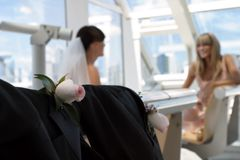 Little chat. Bride and bridesmaid have a litlle conversation in the background. Focused on the rose Royalty Free Stock Image
