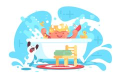 Little cheerful baby having fun in bath stock images