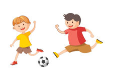 Little cheerful boys plays football isolated cartoon illustration Stock Photos
