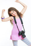 Little cheerful photographer Stock Image