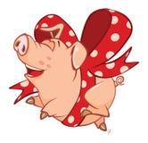Illustration of a Cute Pig. Cartoon Character royalty free illustration