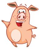 Illustration of a Cute Pig. Cartoon Character. Little cheerful pink pig with a big nose and a cheerful tail Royalty Free Stock Images