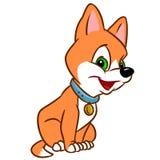 Little cheerful puppy cartoon sitting cartoon character illustration. Isolated image vector illustration