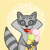 Little cheerful raccoon is ice cream Royalty Free Stock Photos