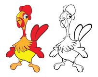 Illustration of a Cute Little Chicken Cartoon Character. Coloring Book royalty free illustration