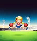A little cheerleader in the field. Illustration of a little cheerleader in the field Royalty Free Stock Image