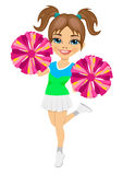 Little cheerleader holding pompoms. On white background Royalty Free Stock Photo