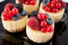 Little cheese cake with fruit Royalty Free Stock Photo