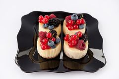 Little cheese cake with fruit Stock Image