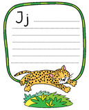 Little cheetah or jaguar for ABC. Alphabet J. Children vector illustration of little funny jumping cheetah or jaguar. Alphabet J. Including frame with dotted Royalty Free Stock Photography