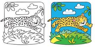 Little cheetah or jaguar coloring book. Coloring picture of little funny jumping cheetah or jaguar. Children vector illustration Vector Illustration