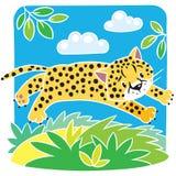 Little cheetah or jaguar coloring book. Coloring picture of little funny jumping cheetah or jaguar. Children vector illustration Royalty Free Illustration