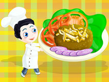 Little chef. Cute little chef with hamburger. include clipping path Stock Photos