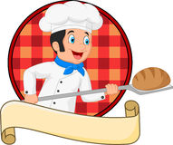 Little chef baker holding bakery peel tool with bread Stock Image