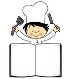 Little chef boy. Book with space to write the menu Stock Photography