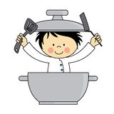 Little chef boy. Child in a pot with cooking tools Royalty Free Stock Images