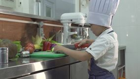 Little chef cook in apron and chef hat cooking food at school kitchen. Funny little boy cook cutting fresh vegetables on. Wooden board on kitchen. Cooking class stock video