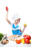 Little chef cook dancing with Bell Pepper Royalty Free Stock Images