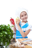 Little chef cook dancing with Bell Pepper Royalty Free Stock Photos