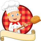 Little chef is cooking bread Royalty Free Stock Images