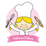 Little chef girl. Isolated drawing of a girl with kitchen utensils Vector Illustration