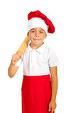 Little chef holding rolling pin Royalty Free Stock Photography