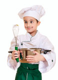 Little chef with kitchen utensil. Surprised isolated on white Royalty Free Stock Photos