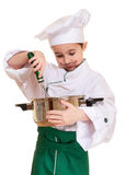 Little chef with kitchen utensil. Cooking isolated on white Royalty Free Stock Images