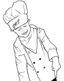 Little Chef Pointing Down. With his Finger - Black and White Illustration, Vector Royalty Free Stock Image