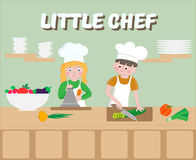 Little Chef Poster Children cook. Vector illustration Stock Photos