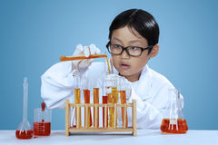 Little chemist mixes the chemical fluid Royalty Free Stock Photos