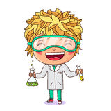 Little chemist with test tubes in hand Royalty Free Stock Photos