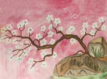 Little cherry tree with white flowers, painting Stock Image