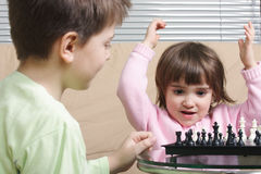 Little chess winner Royalty Free Stock Images
