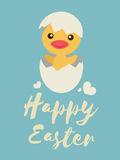 Little chick opens his egg and smile, Happy Easter words Royalty Free Stock Photography