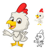 Little Chicken with Present Hand Cartoon Character Stock Photo