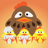Little chickens and mother Royalty Free Stock Image