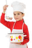 Little chief-cooker with ladle and pot Stock Image