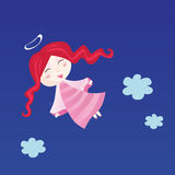 Little child in angel costume. Small christmas angel  - symbol of love and innocence. Vector Illustration Stock Photo